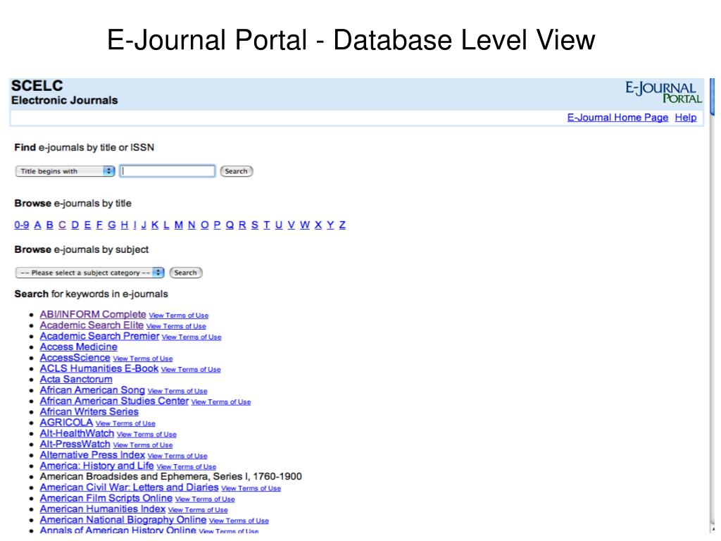 E-Journal Portal - Database Level View