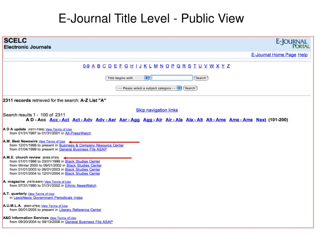 E-Journal Title Level - Public View