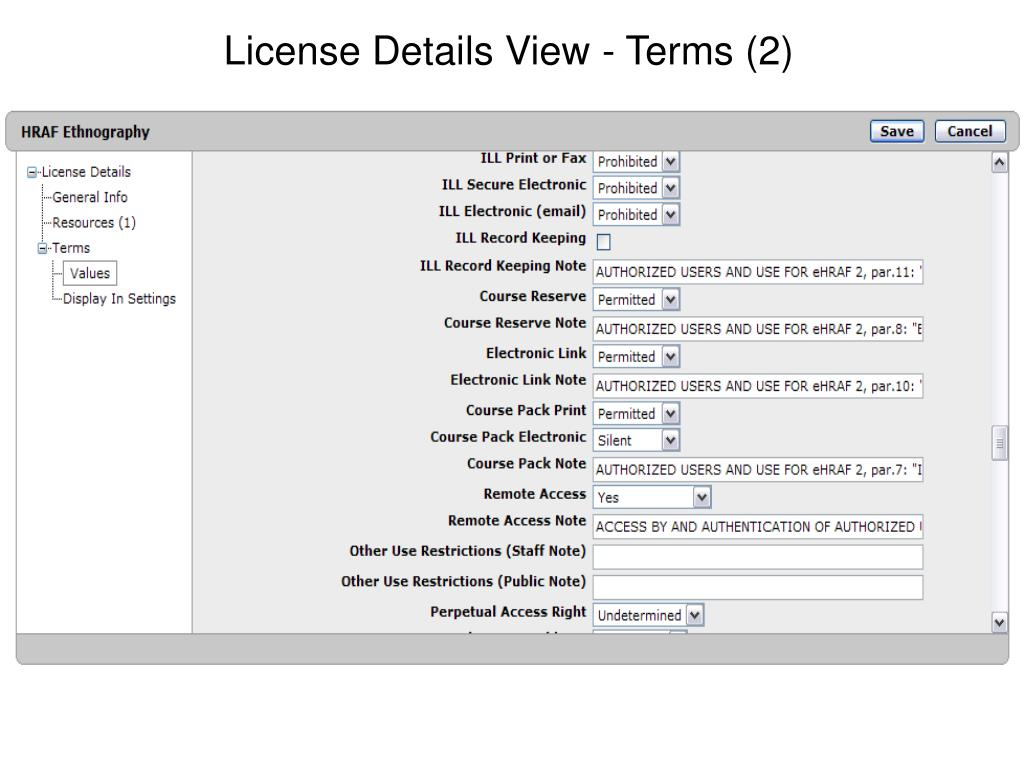 License Details View - Terms (2)