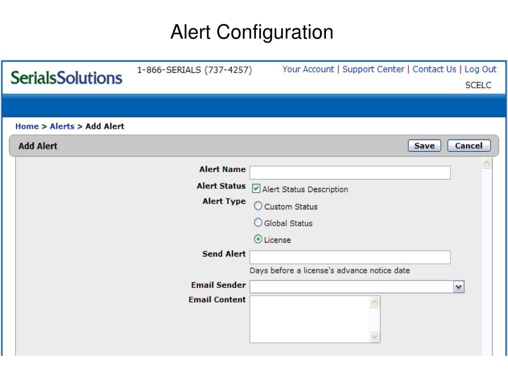 Alert Configuration