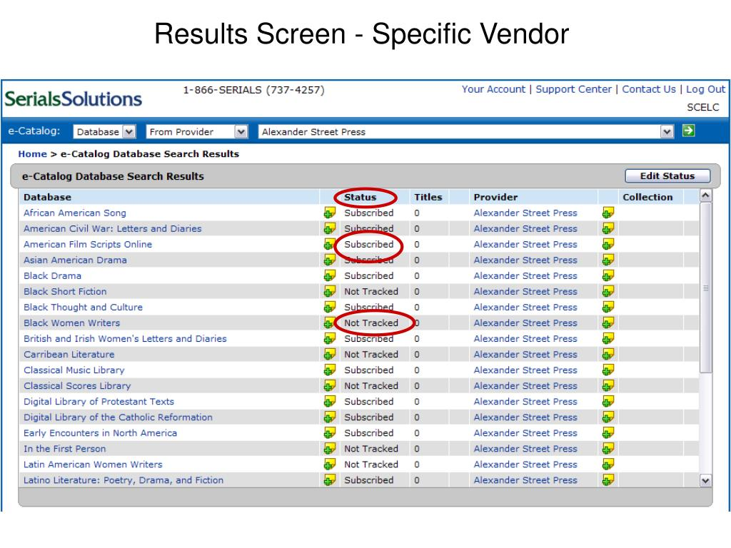 Results Screen - Specific Vendor