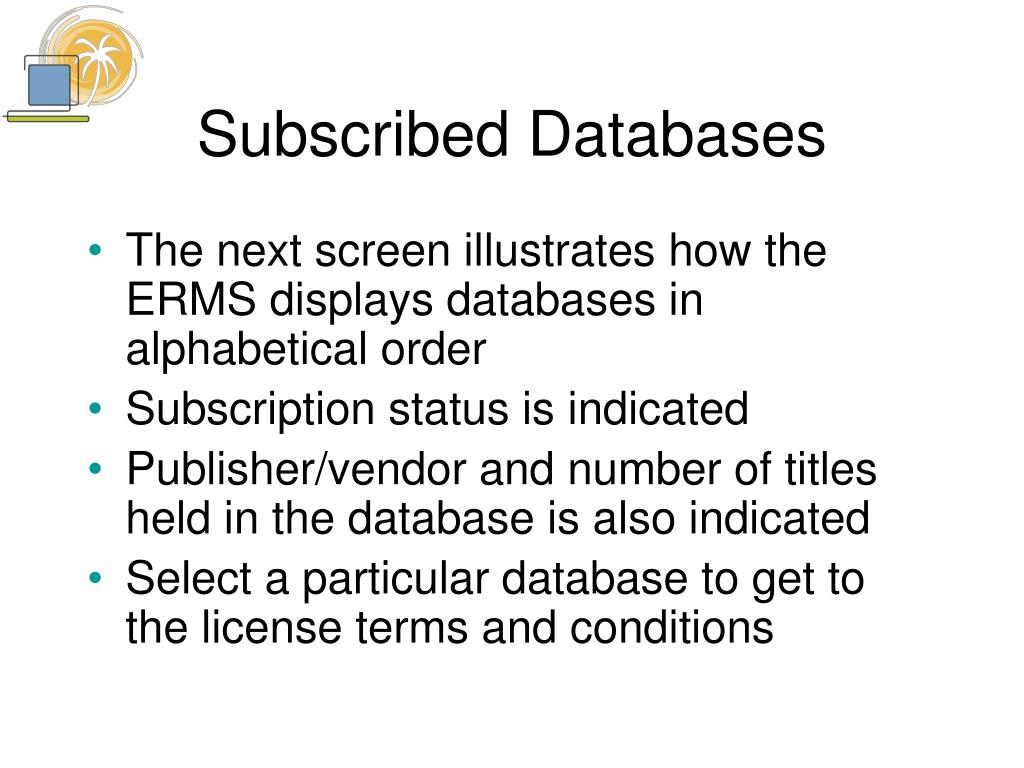 Subscribed Databases