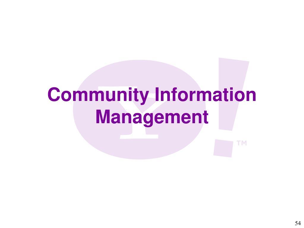 Community Information Management