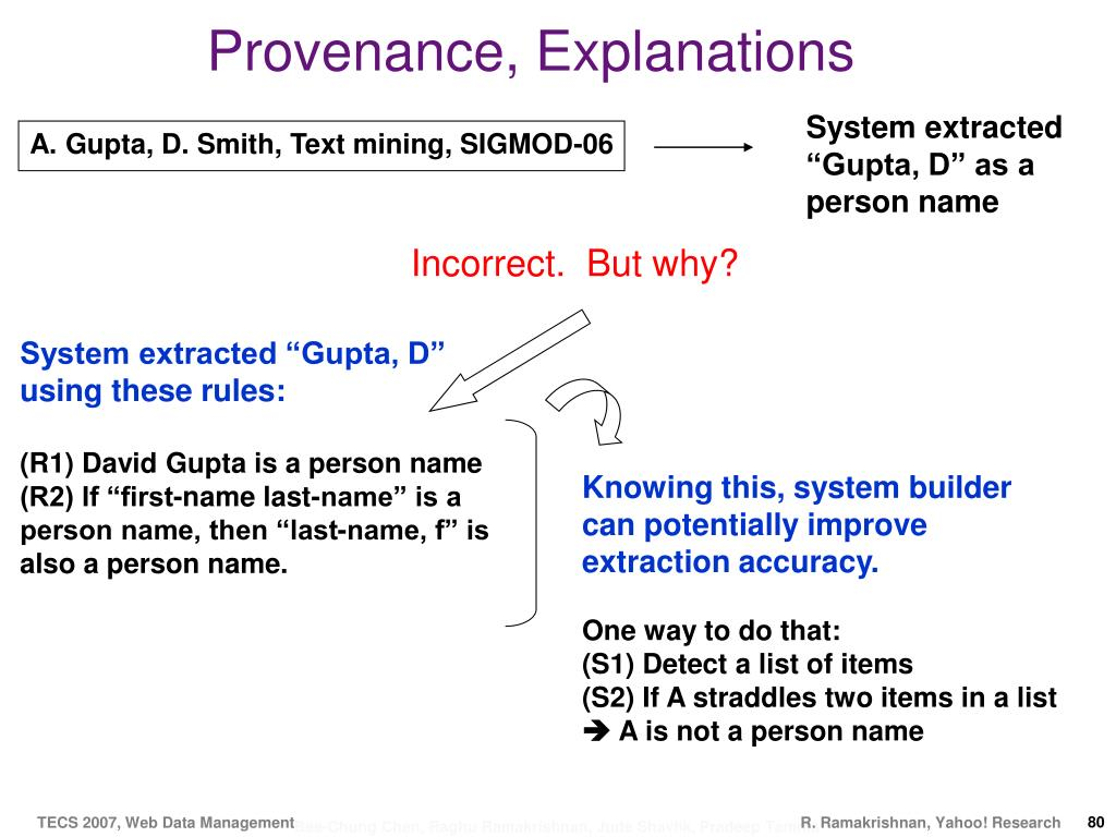 Provenance, Explanations