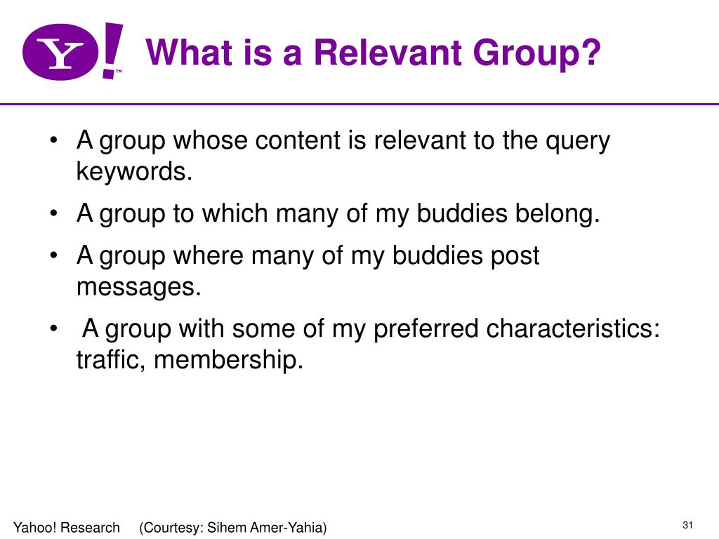 What is a Relevant Group?