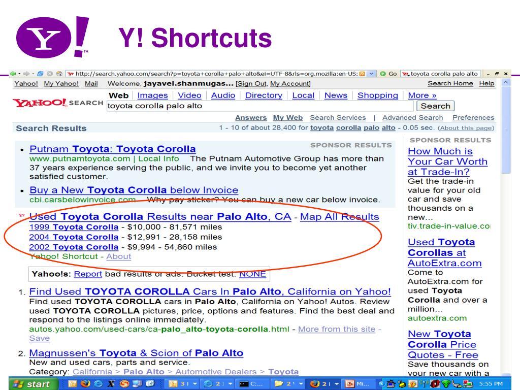 Y! Shortcuts