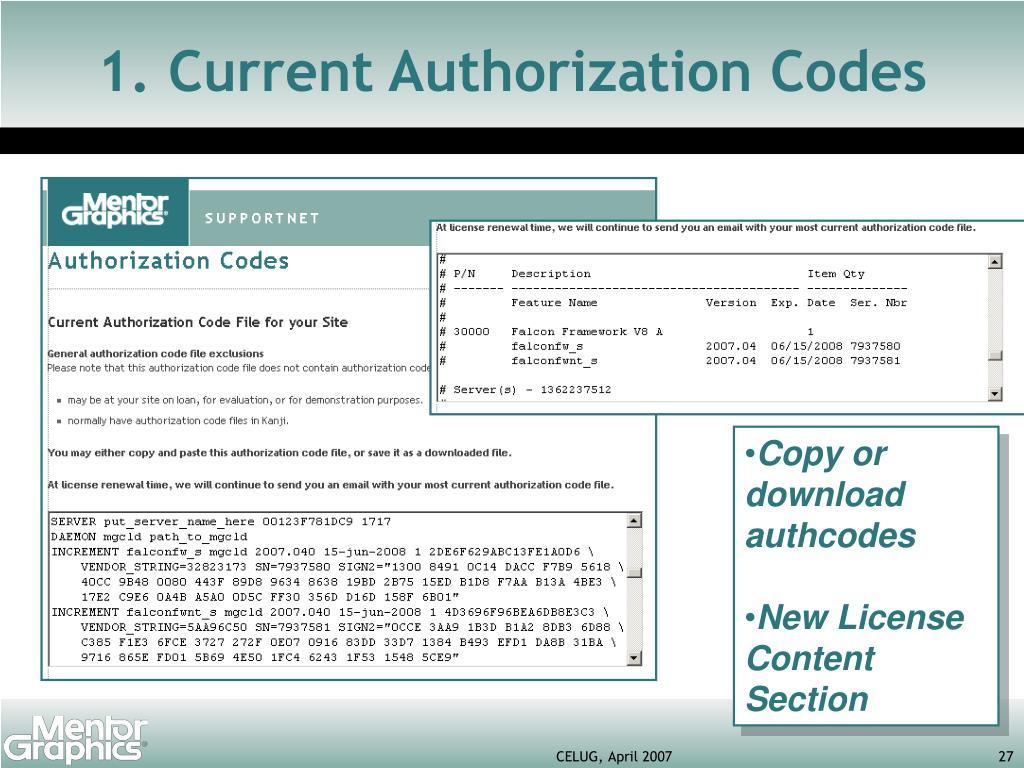 1. Current Authorization Codes