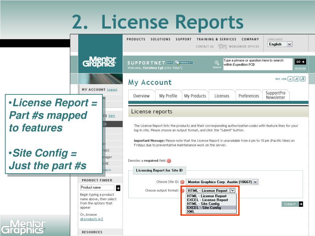 2.  License Reports