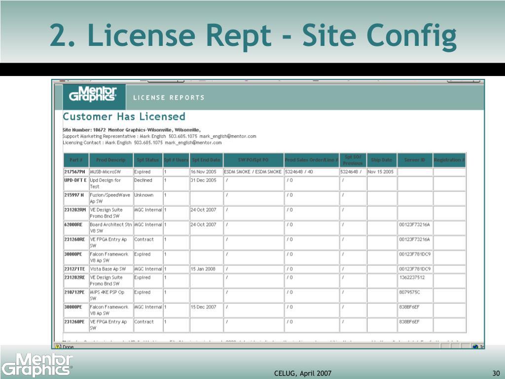 2. License Rept - Site Config