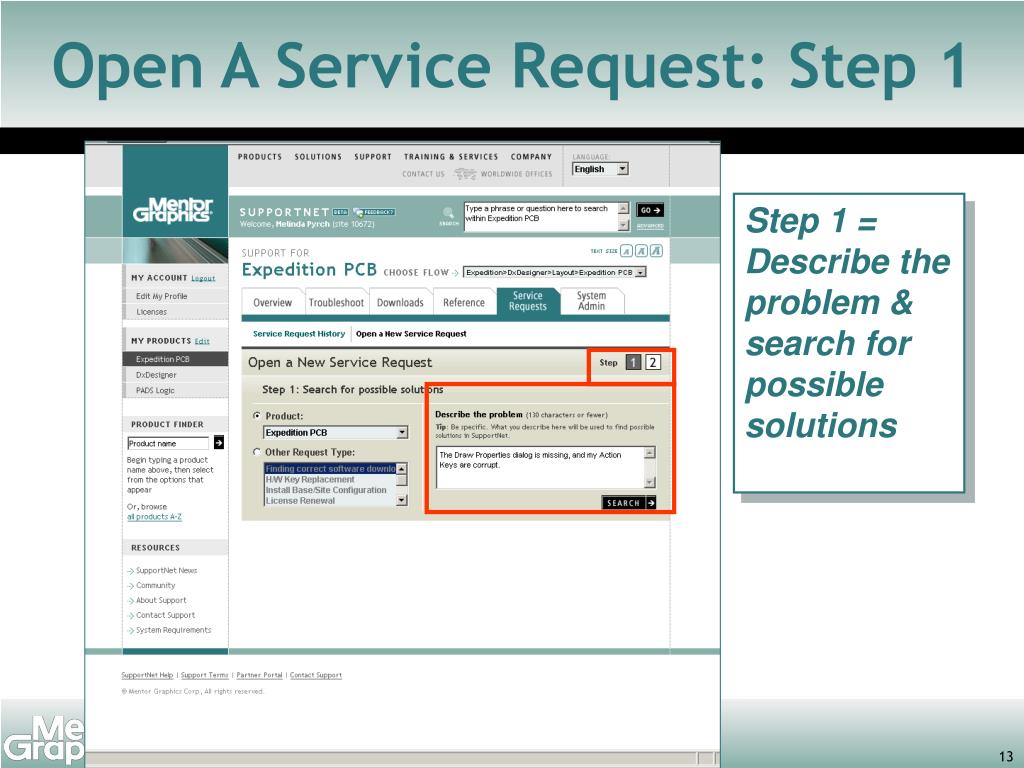 Open A Service Request: Step 1