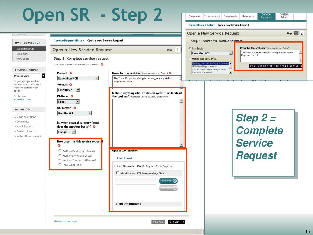 Open SR  - Step 2