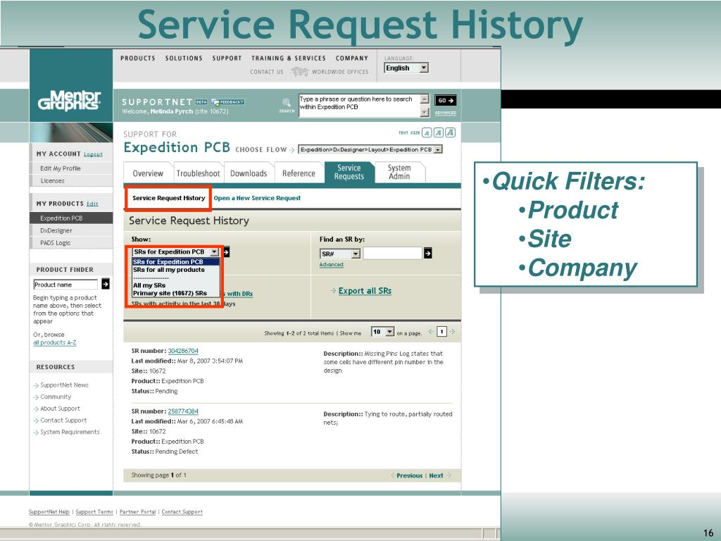 Service Request History