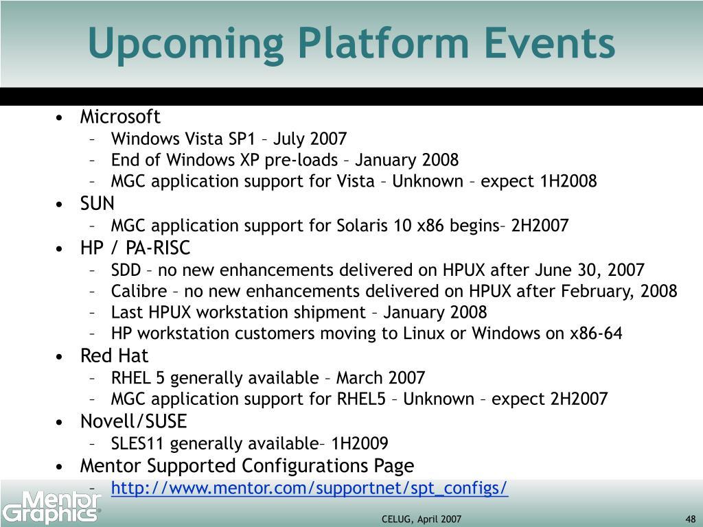 Upcoming Platform Events