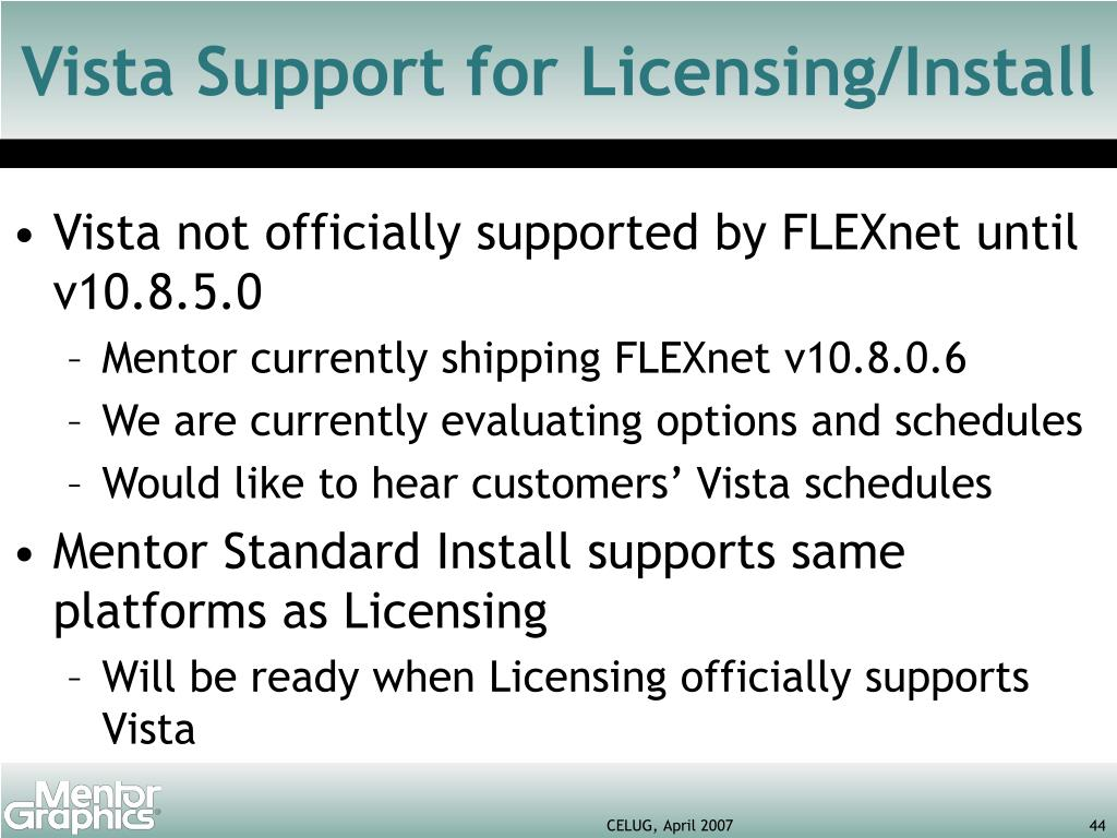 Vista Support for Licensing/Install