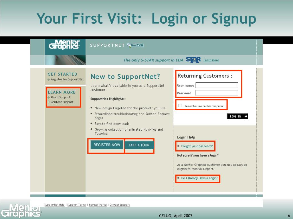 Your First Visit:  Login or Signup