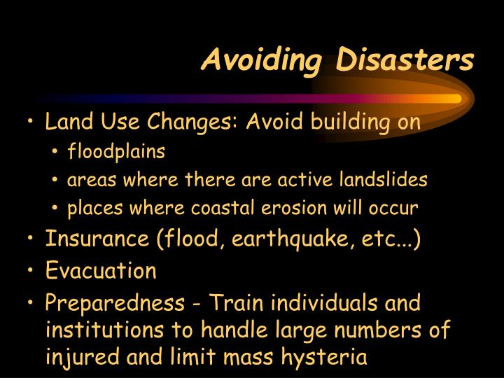 Avoiding Disasters