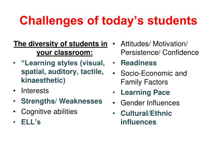 The diversity of students in your classroom: