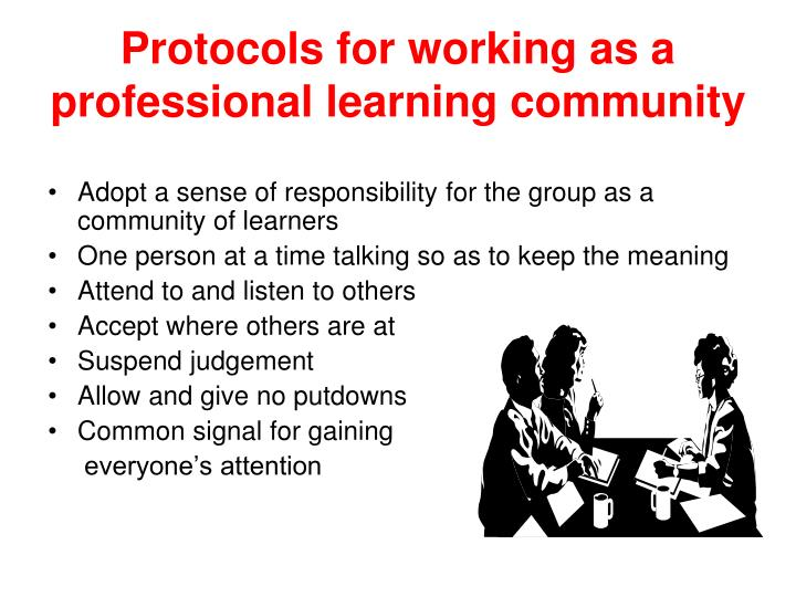 Protocols for working as a professional learning community