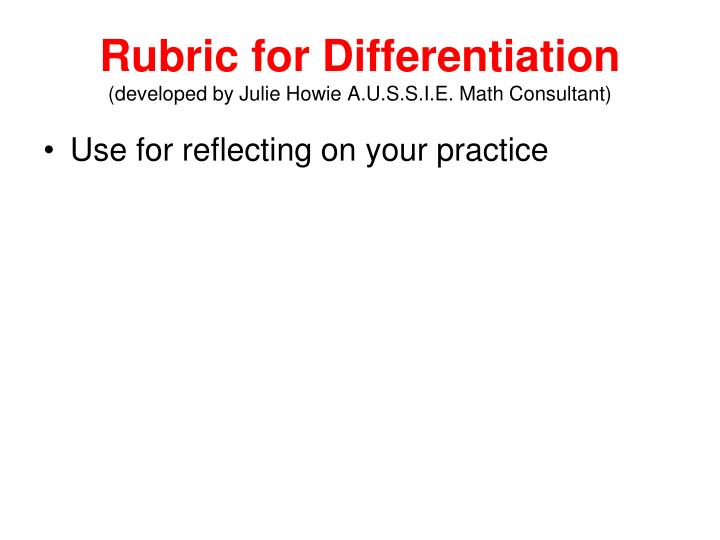 Rubric for Differentiation