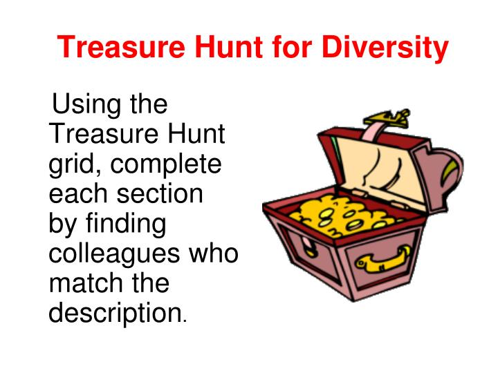 Using the Treasure Hunt grid, complete each section by finding colleagues who match the description