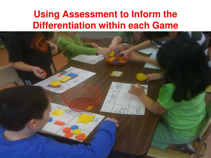 Using Assessment to Inform the Differentiation within each Game