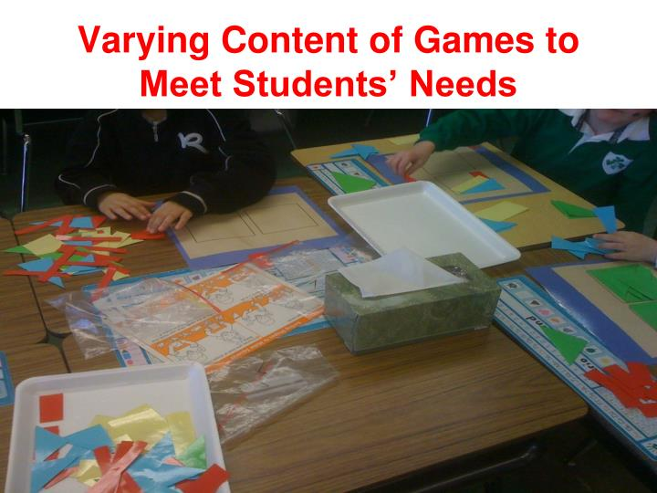 Varying Content of Games to Meet Students' Needs