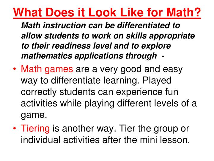 What Does it Look Like for Math?