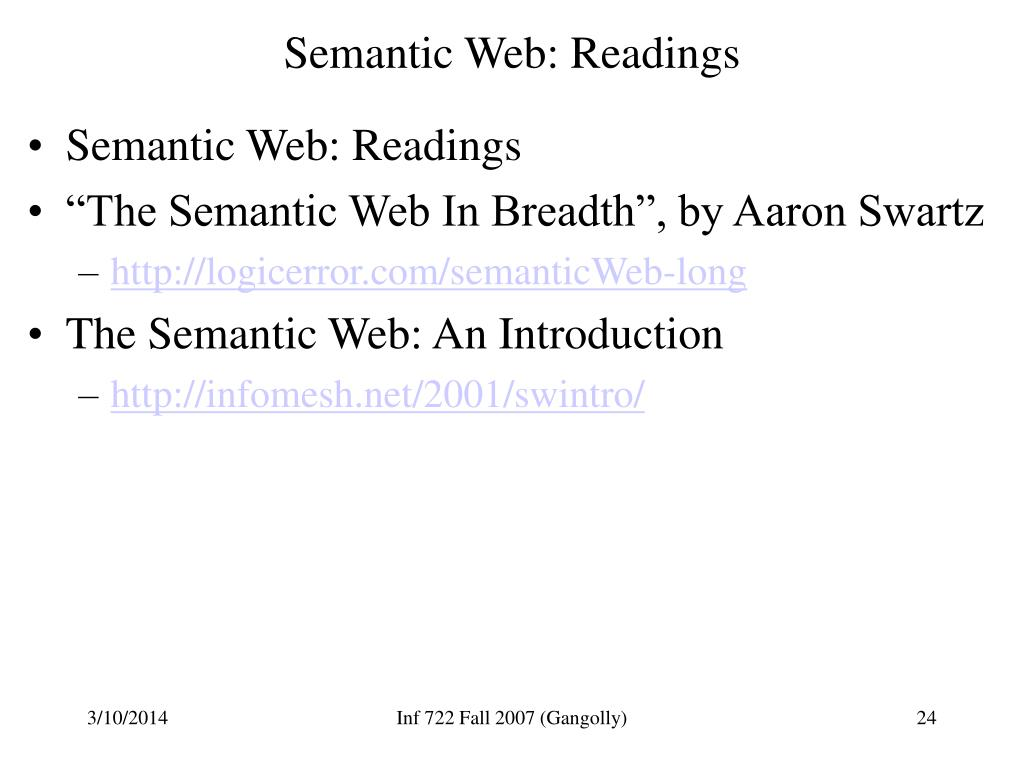 Semantic Web: Readings