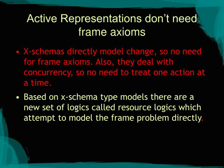 Active Representations don't need frame axioms