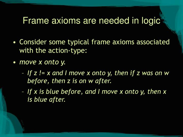 Frame axioms are needed in logic