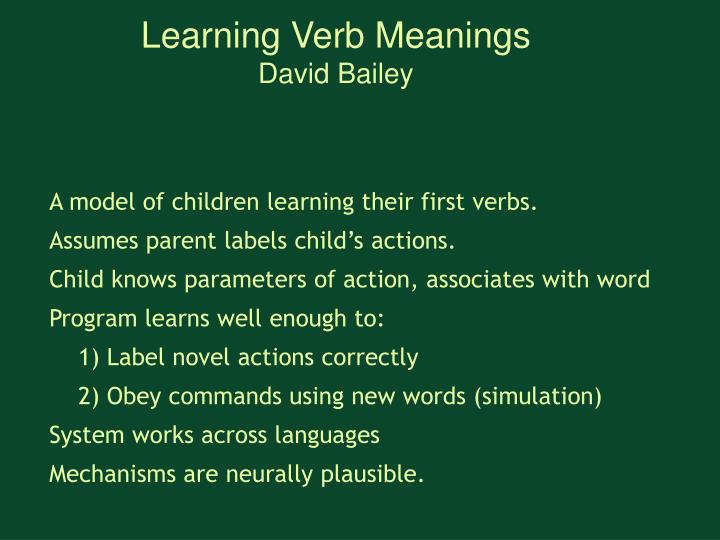 Learning Verb Meanings