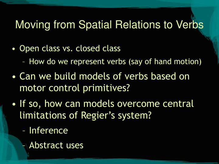 Moving from spatial relations to verbs