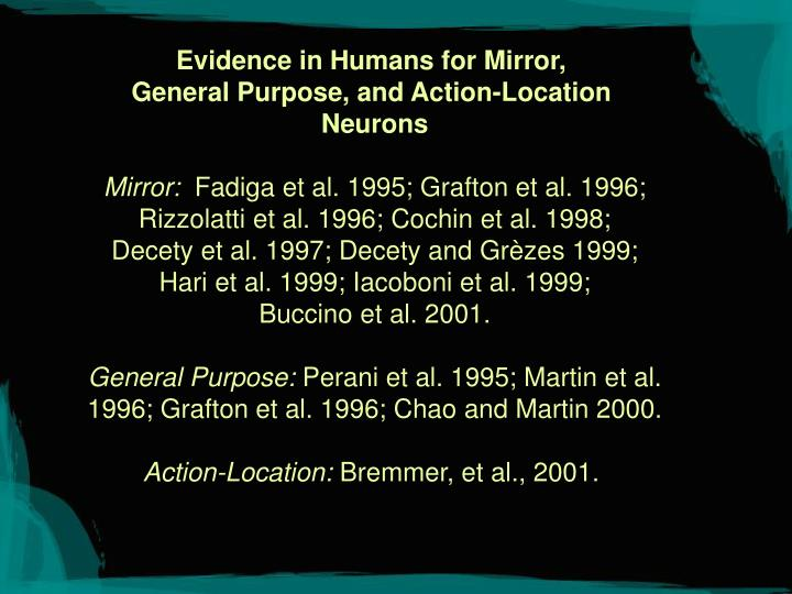 Evidence in Humans for Mirror,