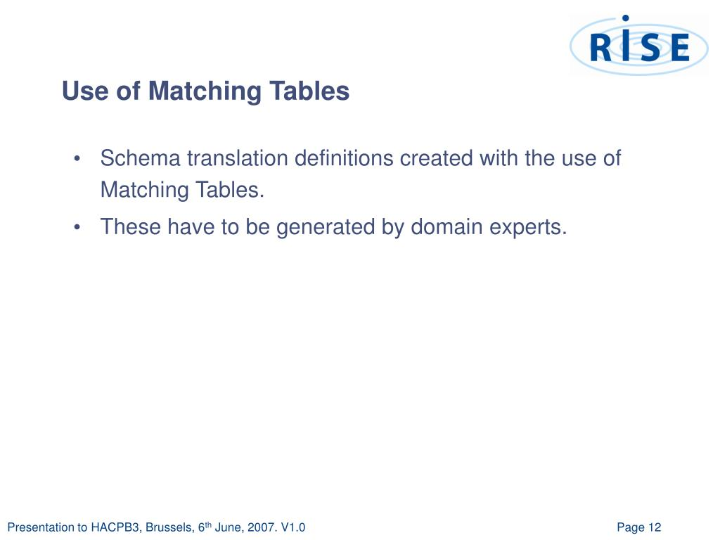 Use of Matching Tables