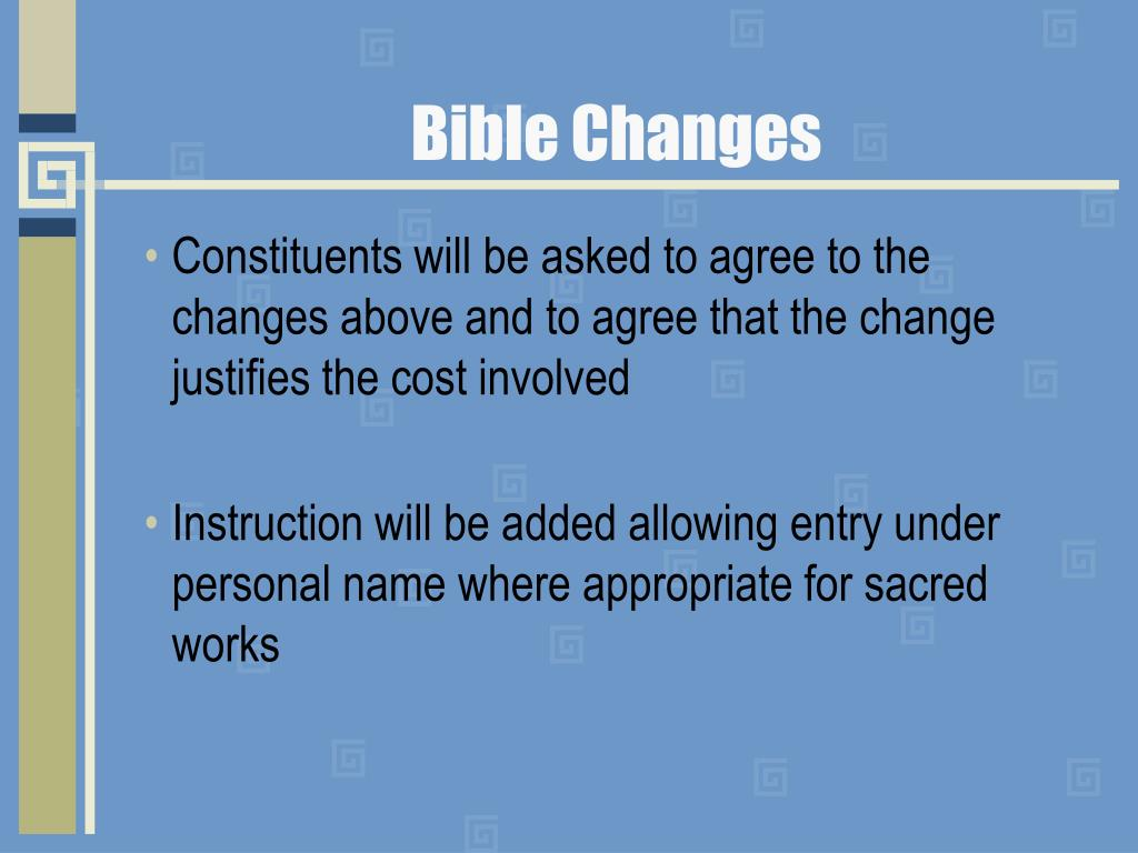Bible Changes