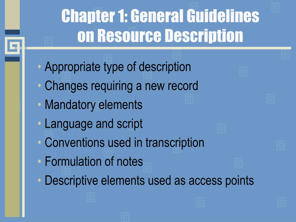 Chapter 1: General Guidelines