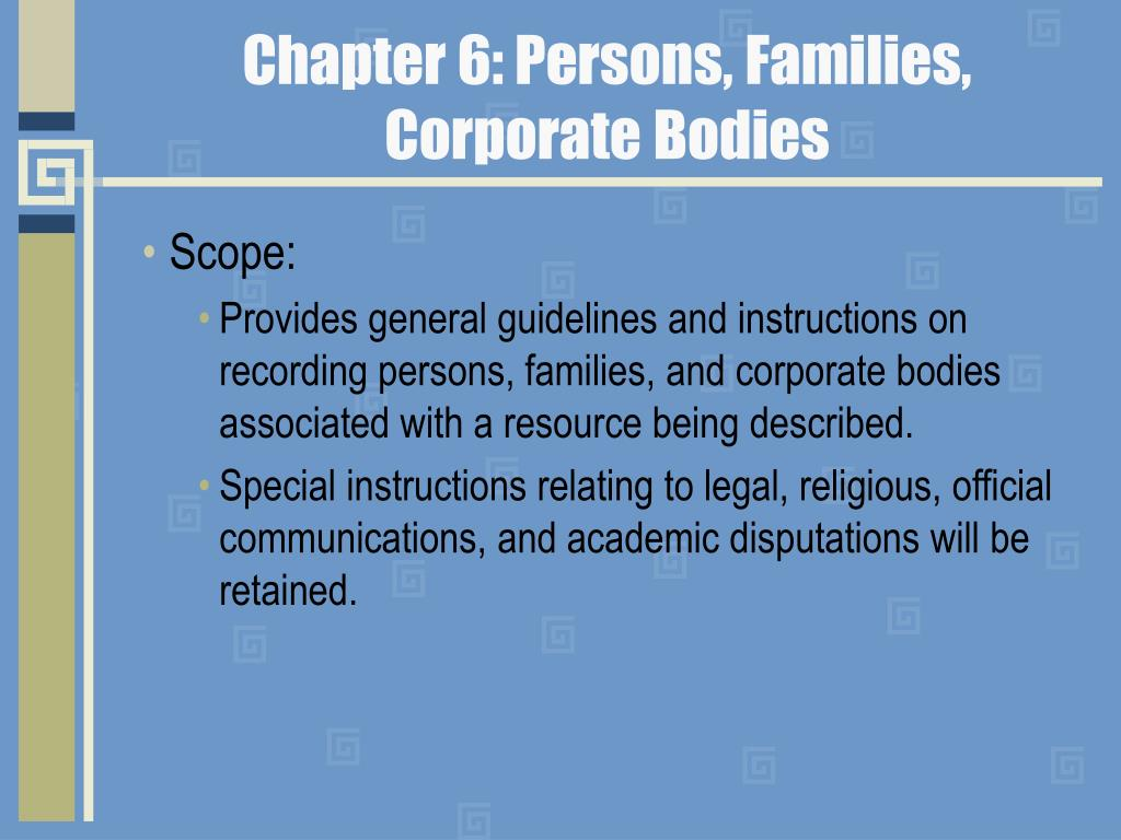 Chapter 6: Persons, Families,
