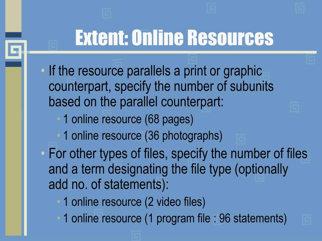 Extent: Online Resources
