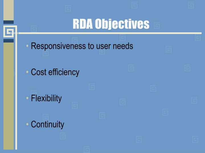 Rda objectives