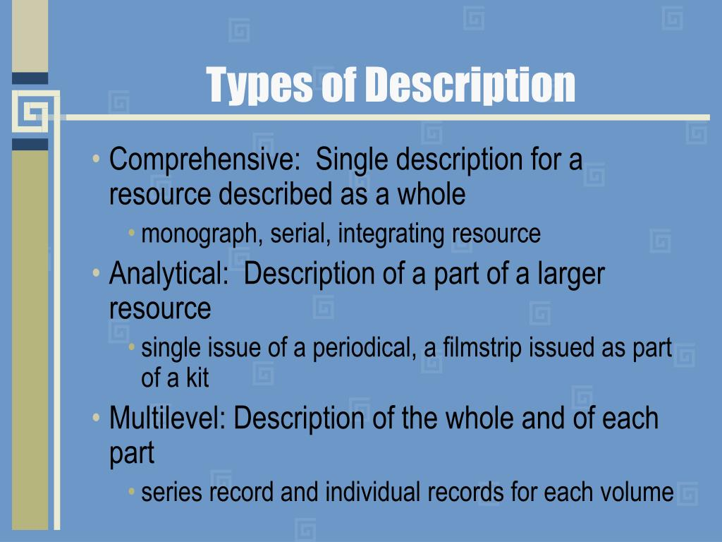Types of Description