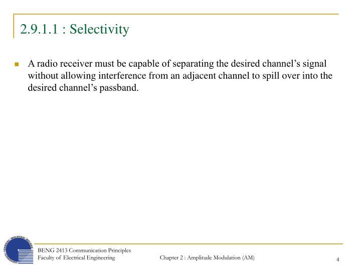 2.9.1.1 : Selectivity
