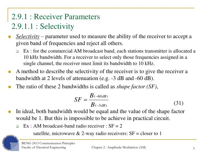 2 9 1 receiver parameters 2 9 1 1 selectivity