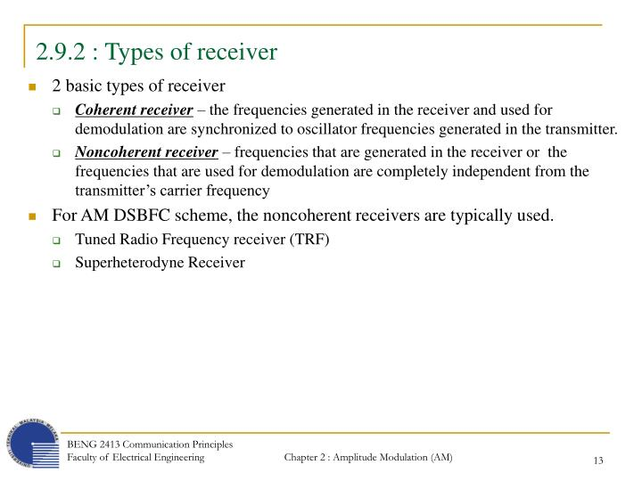 2.9.2 : Types of receiver