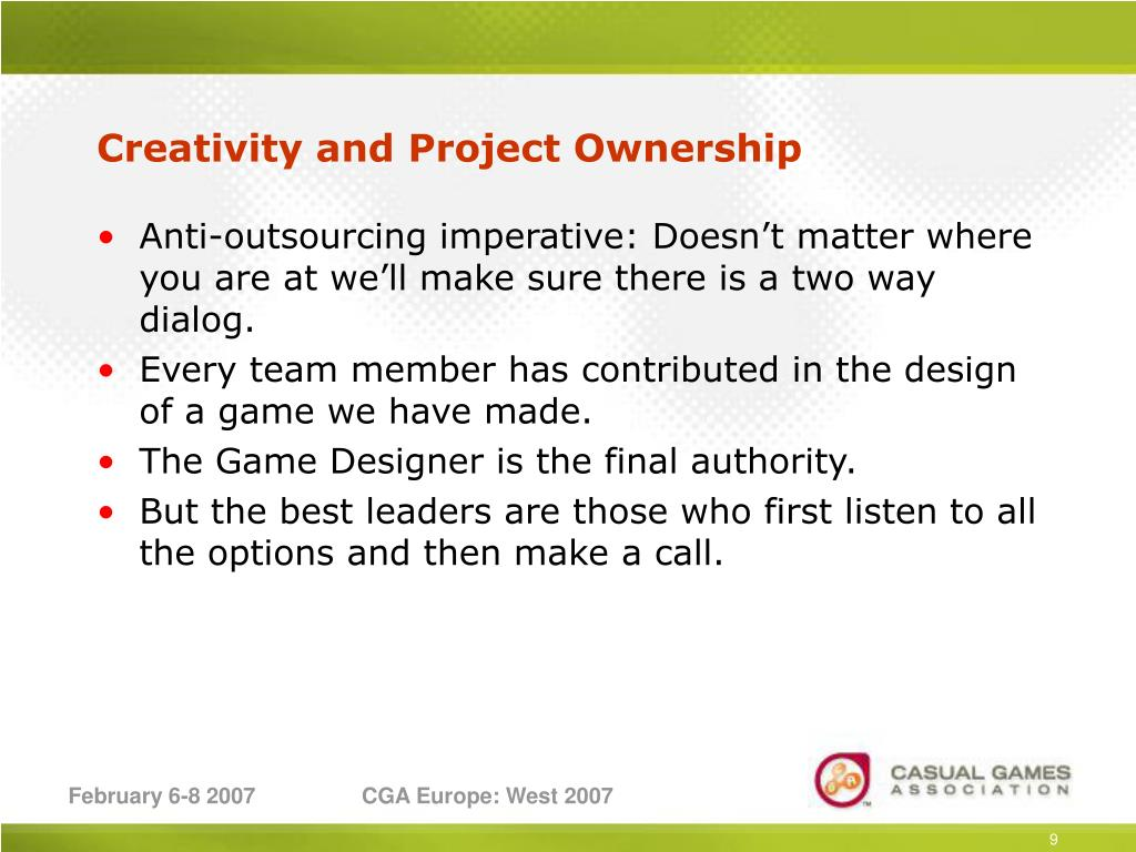 Creativity and Project Ownership