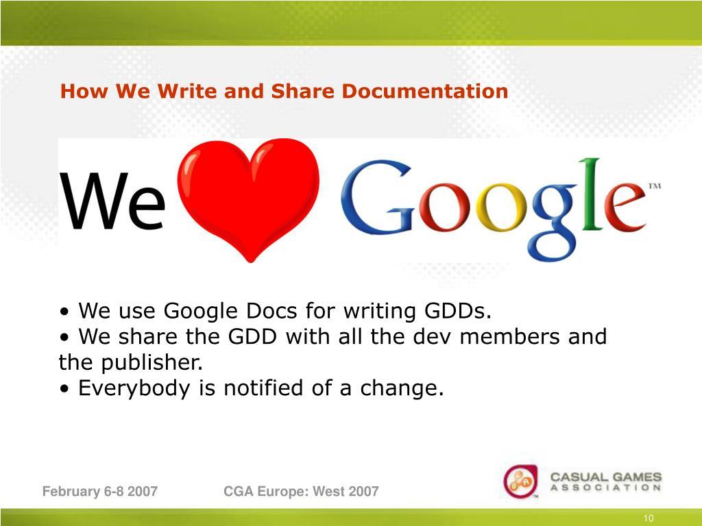How We Write and Share Documentation