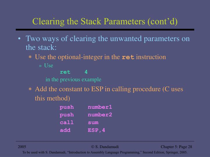 Clearing the Stack Parameters (cont'd)