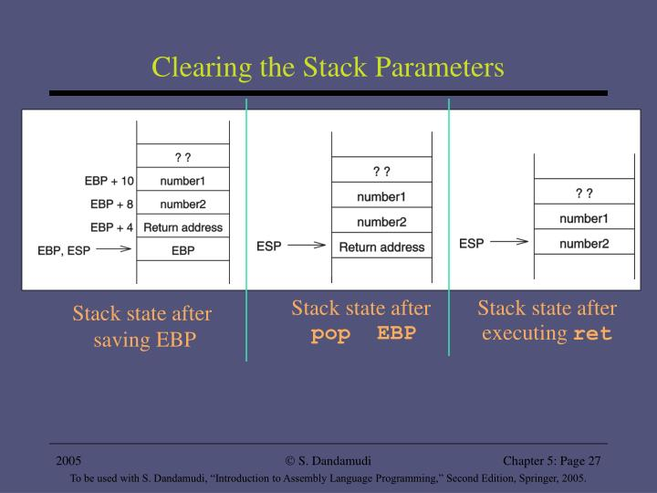 Clearing the Stack Parameters