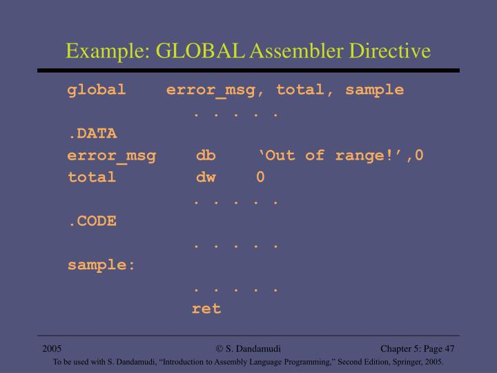 Example: GLOBAL Assembler Directive