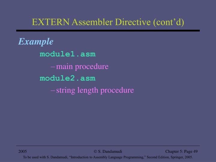 EXTERN Assembler Directive (cont'd)