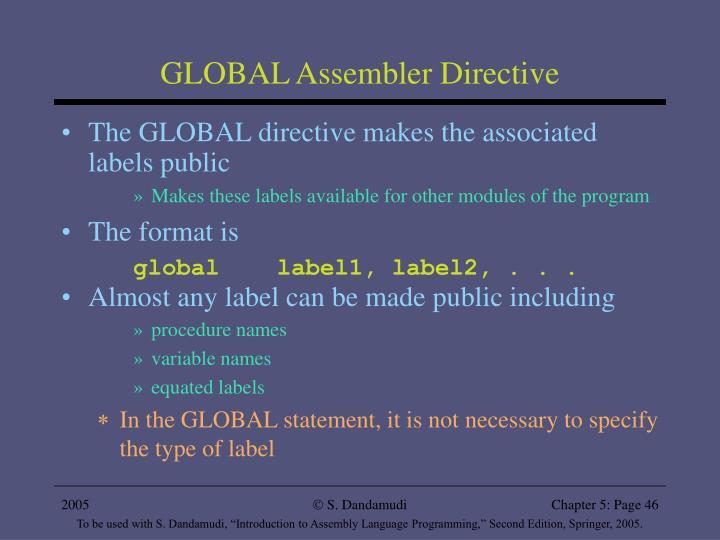 GLOBAL Assembler Directive